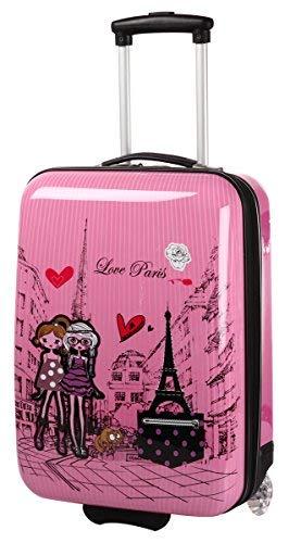 Valigia per cabina, rosa, per ragazza, motivo: Paris Love.