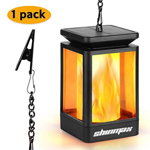 Shinmax Solar Hanging Lantern Außen Outdoor Solar Mission Lantern Solarbetriebene und wasserdichte Hängeschirm Laterne Tanzen Flamme Kerzenlichter Dekorativ für Garten Auto On/Off(1 pack)