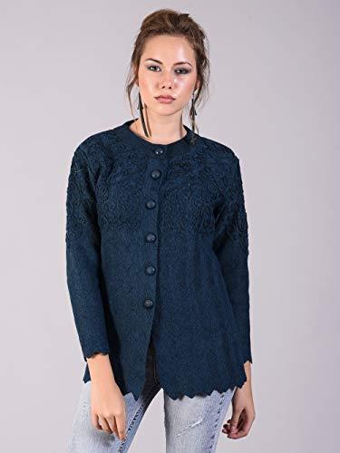 HAUTEMODA Women's Woollen Embroidered Button Cardigan with Pockets (Navy, Large)