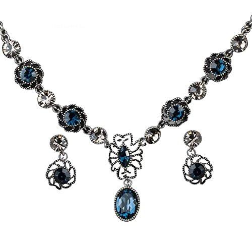 Veuer Gioielli per Collana da Donna Orecchini Argento Antico Placcato Argento con Cristalli Blu Regalo per la Fidanzata la Donna VE229