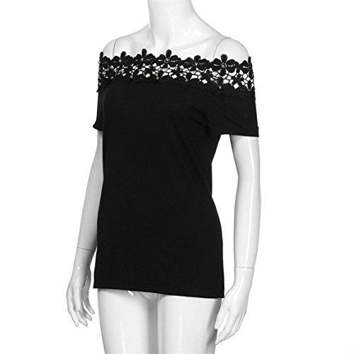 Moonuy Kurzarm-T-Shirt der Frauen 2018 Art- und Weisespitze weg von der Schulter-Spitze aushöhlen tägliches beiläufiges Hemd O-Ansatz dünne Spitzenbluse in der Förderung (EU 36/Asien M, Schwarz) - 5