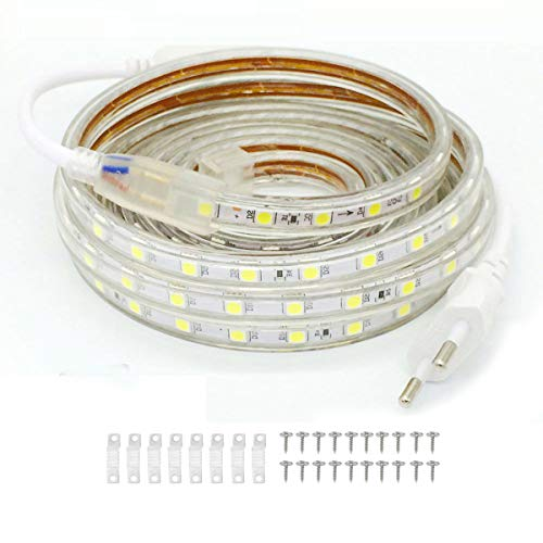 VAWAR 2M Striscia LED - bianco freddo, 5050 60 LEDs/m, retroilluminazione luminosa, 220V 230V, IP65 impermeabile, DIY decorazione per casa, bar, Natale
