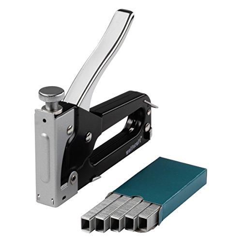 wolfcraft Tacocraft 5 Handtacker Set 7088000   Kleiner Werkzeugtacker mit regulierbarer Schusskraft inkl. 1000 8mm Klammern   Ideal für Arbeiten im Haushalt und zum Basteln