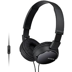 Sony MDR-ZX110APB - Auriculares para smartphone (diadema, mando de control, micrófono, 1000 mW, Android y iPhone), negro