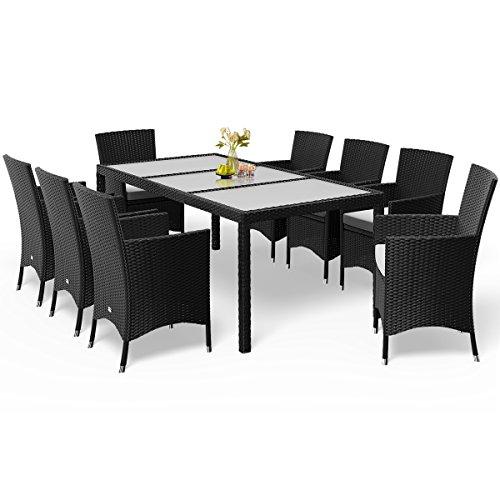 Deuba Poly Rattan Sitzgruppe Schwarz 8 Stapelbare Stühle & 1 Tisch 7cm Dicke Auflagen Gartenmöbel Sitzgarnitur Set