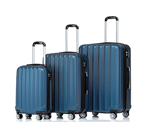 BEIBYE TSA-Schloß 2080 Zwillingsrollen 3 tlg. Reisekofferset Koffer Kofferset Trolley Trolleys Hartschale (Hellblau)