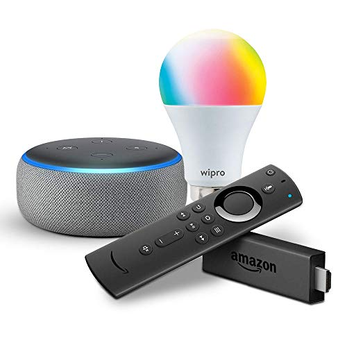 Echo Dot (Grey) bundle with Fire TV Stick and Wipro 9W smart bulb