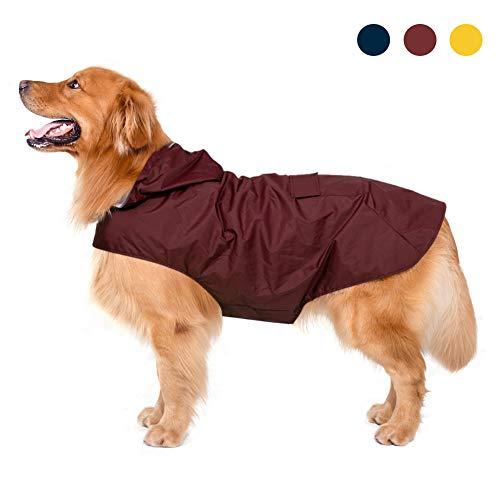Impermeabile per cani con cappuccio e foro per colletto e strisce riflettenti protettive,...