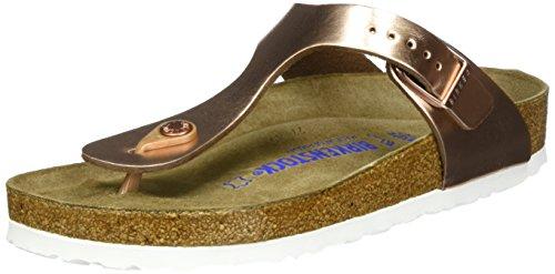 Birkenstock Classic Gizeh SFB Leather, Infradito Donna, Marrone Metallic Copper, 37 EU
