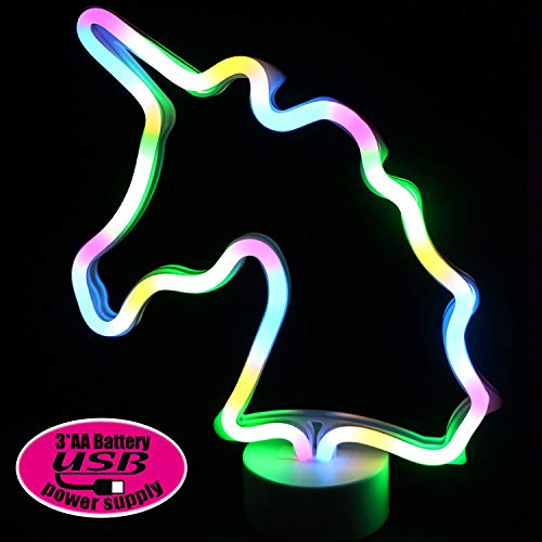 XIYUNTE Luci notturne Unicorn Neon Signs - Colorful Unicorn Luci con piedistallo Decorazioni...