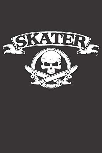 Notebook for sk8er sk8 longboard skate skull: Dot Dotted Grid Funny Notebook Diary Journal Skater...