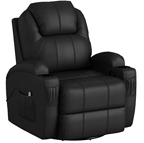 MCombo Modern Massage Recliner Chair Divano Vibrante riscaldato in Pelle PU Lounge ergonomico Nero 7021
