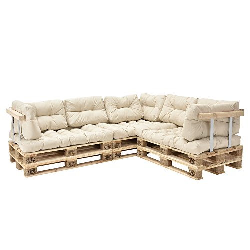 [en.casa] Divano paletta euro-sofá - a 5 posti con cuscino - [crema] set completo incl. bracciolo e schienale