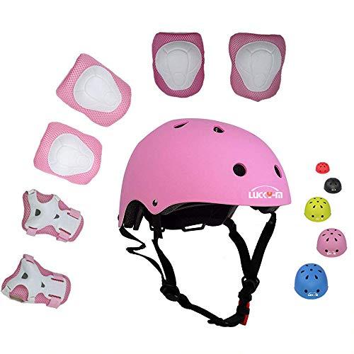 Lucky-M bambini 7 pezzi di sport outdoor Gear set bambine da ciclismo casco di sicurezza e set...