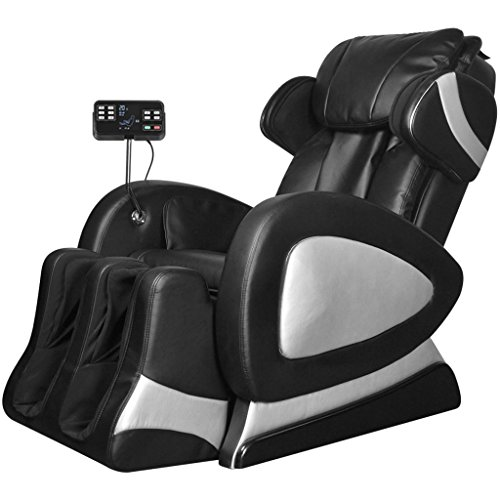 vidaXL Poltrona Massaggiante Schermo Comandi Similpelle Nera Sedia Massaggio