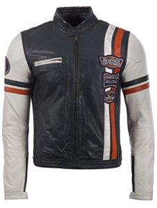 Aviatrix Herren Echtleder Racing Bikerjacke mit Abzeichen (3ZS3) 15