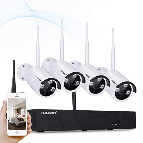 FLOUREON WiFi Set di Videosorveglianza 4CH 1080P 2,0MP NVR + 4X 1080P Telecamere di Sorveglianza Esterno Telecamera di Sicurezza,P2P,Mozione,H.264,Impermeabile,La Visione Notturna
