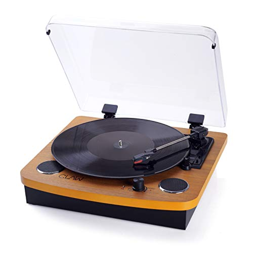 CLAW Stag Superb Vinyl Record Player Turntable with Built-in Stereo Speakers and USB Digital Conversion Software for PC (Wood)