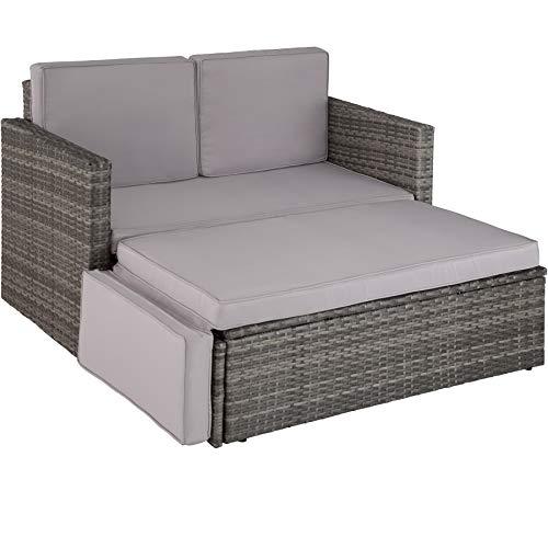TecTake 800693 Poly Rattan Lounge Set, 2 Sitzer Sofa mit Hocker, Ottomane, inkl. Dicke Auflagen - Diverse Farben (Grau | Nr. 403125)