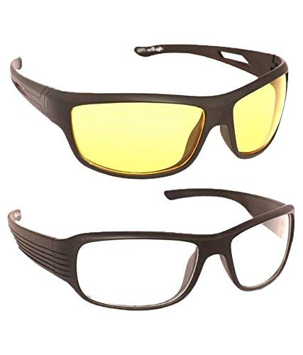 Hippon Day And Night Vision Goggles for Riding Bikes Combo Pack of Driving Sunglasses for Men Women Boys & Girls (Clear - Yellow Night Vision) - 2 Goggle Case