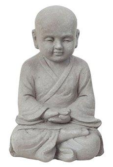 Efecto de piedra gris Fibreclay Monje Shaolin meditando estatua de jardín Figura