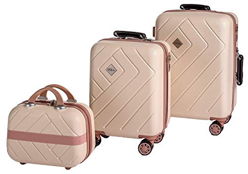Enrico Coveri Moving Set Due Trolley + Beauty Case da Viaggio, Valigie Rigide ABS Beige e Rosa in...