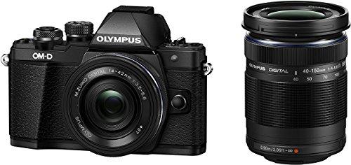 Olympus E-M10 Mark II Fotocamera con Obiettivo M.Zuiko Digital ED 14‑42 mm 1:3.5‑5.6 EZ Pancake e 40-150 R, Nero