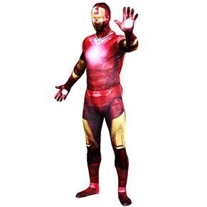 QQWE Traje de Cosplay de Iron Man Marvel Super Hero Zentai Disfraz Disfraz Los Vengadores Juego de Roles Mono Navidad Ropa de Halloween,A-S