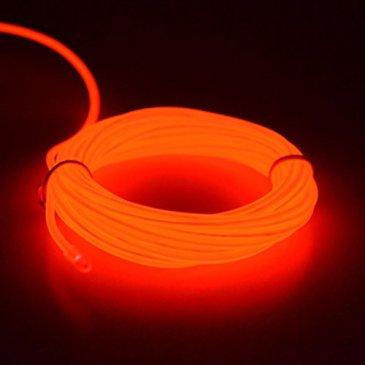 SZFC 5M EL Wire Fil Neon Flexible Lumiere, LED Cable Batterie Pack Guirlande Lumineuses,Parti de Noel, Fete, Decoration Voiture, Cuisine Exterieure,Boites de Nuit (Rouge)