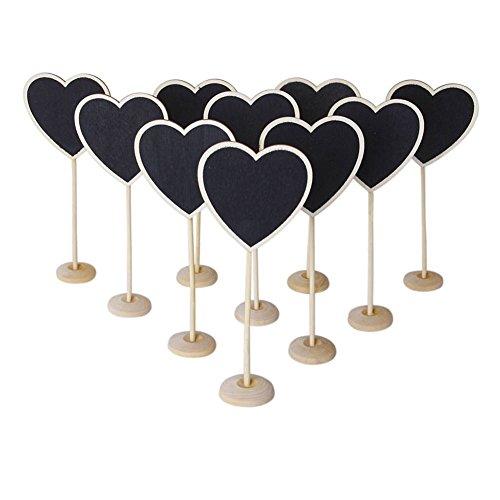 Kentop - Mini lavagne a forma di cuore, in legno, con supporto, 10 pezzi