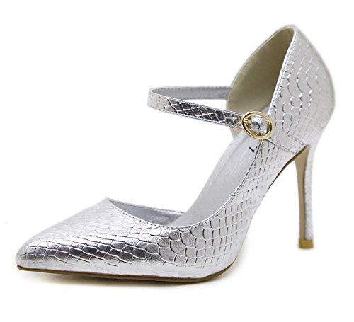 premium selection 68fc1 85aca TMKOO Sandali con tacco alto da donna Moda Scarpe da donna Scarpe da lavoro  eleganti Scarpe da festa lucide Scarpe casual/Oro / Argento (Color : ...