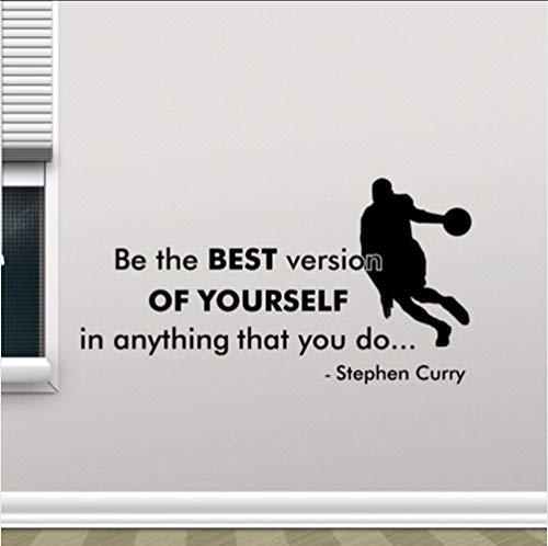 Adesivi Muralesstephen Curry Poster Decalcomania Da Muro Sii La Migliore Versione Di Te Stesso Citazione Basket Fitness Sport Vinile Sticke Gym