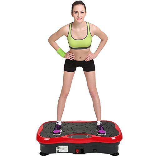 MUPAI Fitness Plate Vibrationstrainer, für den Büro-Wohnzimmer, Multi-Funktions mit Bluetooth und USB,Vibrationsplatte Body-Shaper der Eignungs-Ausrüstung (Schwarz + Rot)