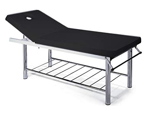 Lettino letto massaggio estetica professionale poltrona studio reclinabile FISIOTERAPIA FISIOTERAPISTA TATTOO TATUAGGI RELAX (Nero)