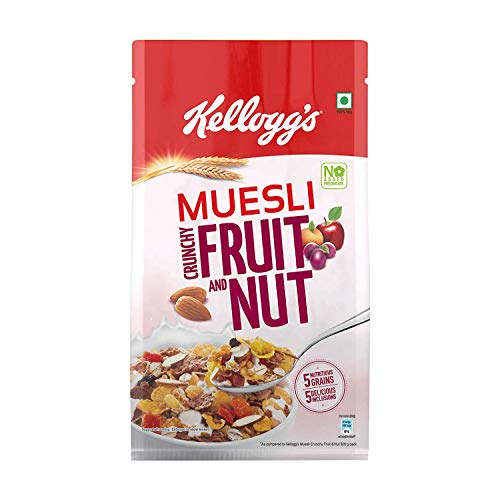 Kellogg's Muesli  Crunchy Fruit and Nut, Multi-Grain Cereal, High in Iron, Vitamin B and Source of Fibre, 750gms Pack