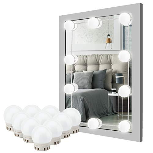 Luci Specchio Make Up, 10 LED Dimmerabile Lampadine e 2 Colori, Luci da Specchio di Vanità...
