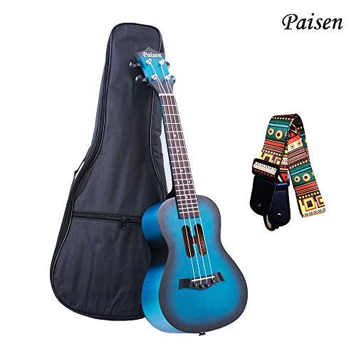 Paisen Ukulele da concerto da 23 pollici blu per principianti con borsa per pianoforte spessa, cinturino, impara a giocare al kit (blu)
