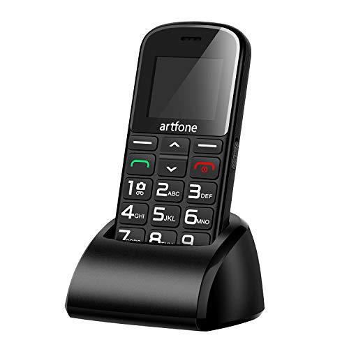 Artfone GSM téléphone Senior Portable Débloqué avec Grandes Touches, Bouton SOS, 1400mAh Batterie 4
