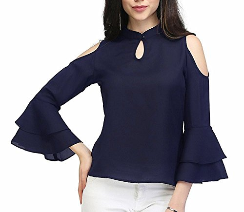 37f9b624b3a Indietoga women s blue moss crepe cold shoulder bell sleeves western wear  top (Plus size XS to 7XL)