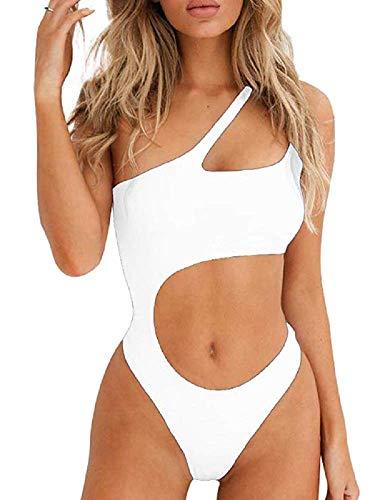 Ducomi Joy Costume Intero Donna - Costumi da Bagno Interi - Bikini Monospalla con Cut-out in Vita,...