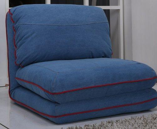 Poltrona letto,(rivestimento in tessuto jeans blu royal, grande)