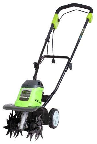 Greenworks 27017 Cultivador y Arados de Jardinería, 950 W, 230 V, Verde