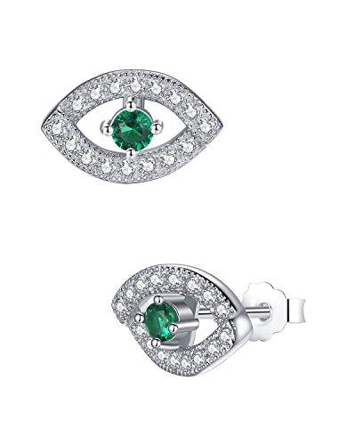Pendientes en plata de ley, ojo egipcio con circonita verde