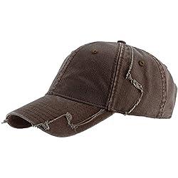 HUR - Used Look Basecap Cap Mütze Vintage Kappe Style Caps Mützen Basecaps Kappen Herrenmütze Damenmütze Herrencap Damencap Damenkappe Herrenkappe Cappy braun