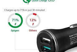 Quick Charge 3.0 Chargeur Voiture, Spigen Essential [QC 3.0 + 5V/2.4A 12V/9V/5V] Chargeur Voiture USB Rapide Compatible avec Galaxy S8, Google Pixel, Galaxy Note 8, iPhone X/8/7 Car Charger – F27QC Vente