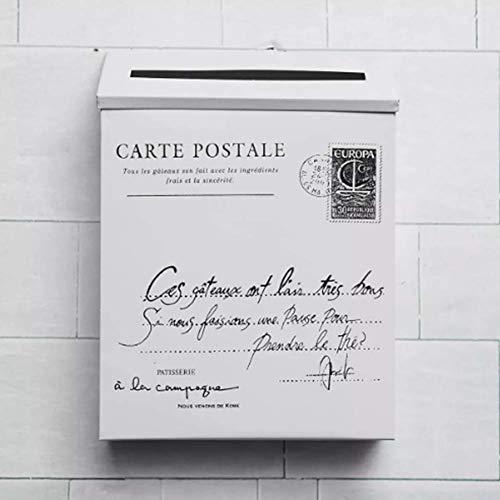TuToy Retro Metal Bloqueable Poste De Correo De La Casa Balcón Jardín Carta De Almacenamiento Buzón Montado En La Pared - Blanco
