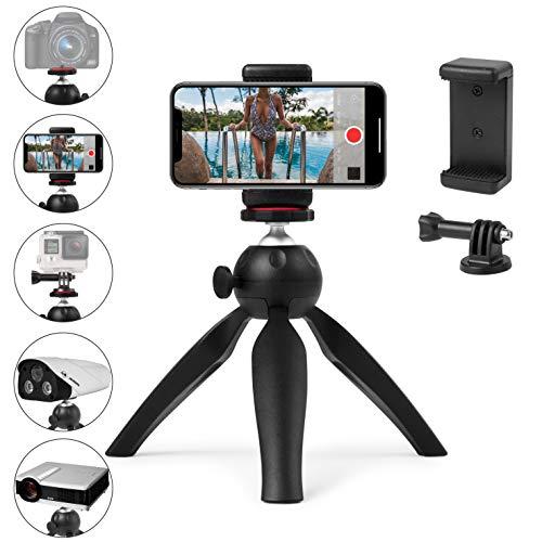 Polarduck Mini Treppiede Smartphone, Treppiede Fotocamera, Treppiedi Cellulare per iPhone/Samsung/GoPro/Webcam/, Testa a sfera di rotazione a 360°con Supporto per Telefono Universale e GoPro, Nero