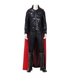 QWEASZER Thor 3 God of Thunder Disfraz de Cosplay Marvel Avengers Disfraces de superhéroe Ropa Interior, Chaleco, Pantalones, Capa, Zapatos Disfraces de Halloween Fiesta,Black-S