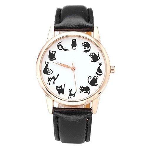 Orologio da polso da donna, Jsdde, divertente design con animali, quadrante con dodici gatti, cassa rosa dorata, cinturino di eco pelle, orologio al quarzo, colore: nero