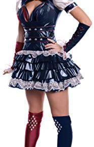 Rubies 's Official–Harley Quinn–Batman Arkham Adultos Disfraz de–tamaño Mediano